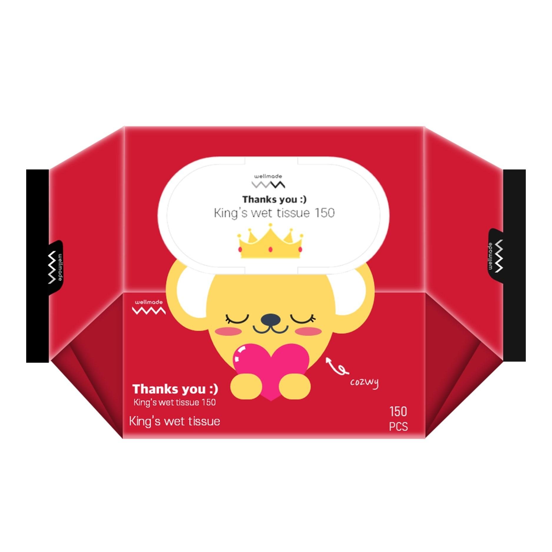 웰메이드 땡큐 킹스물티슈 대용량 150매 캡형 20개 박스 물티슈